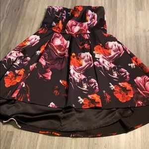 Plus size strapless floral high low dress
